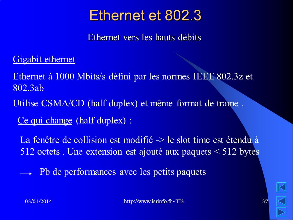 Ethernet et 802.3 Ethernet vers les hauts débits Gigabit ethernet