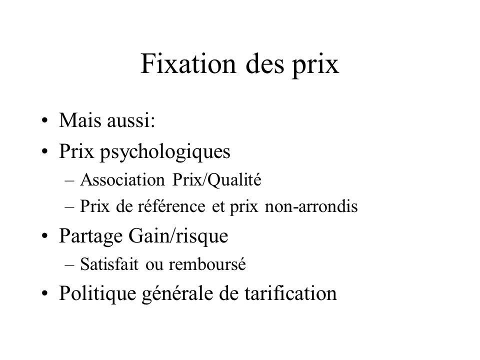 Fixation des prix Mais aussi: Prix psychologiques Partage Gain/risque