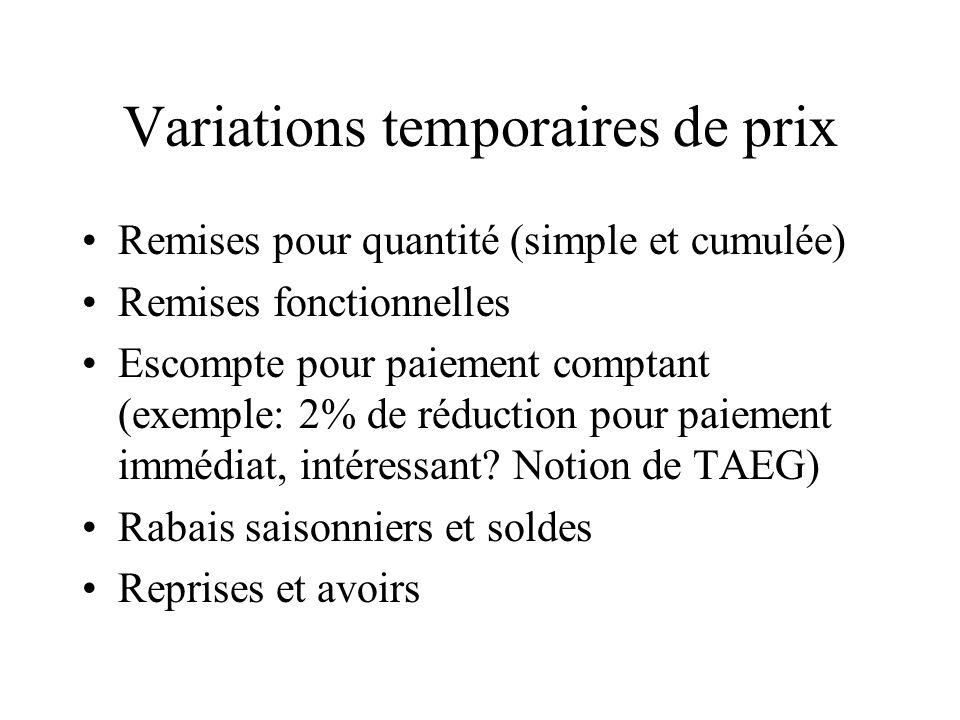 Variations temporaires de prix