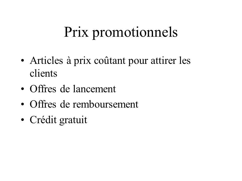 Prix promotionnels Articles à prix coûtant pour attirer les clients