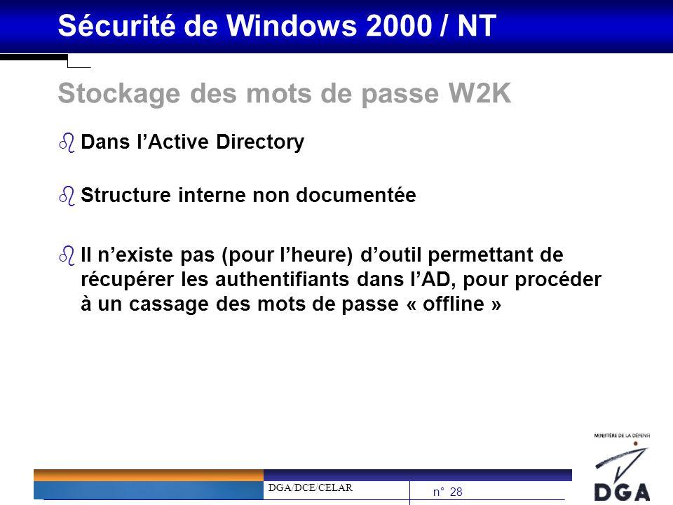 Stockage des mots de passe W2K
