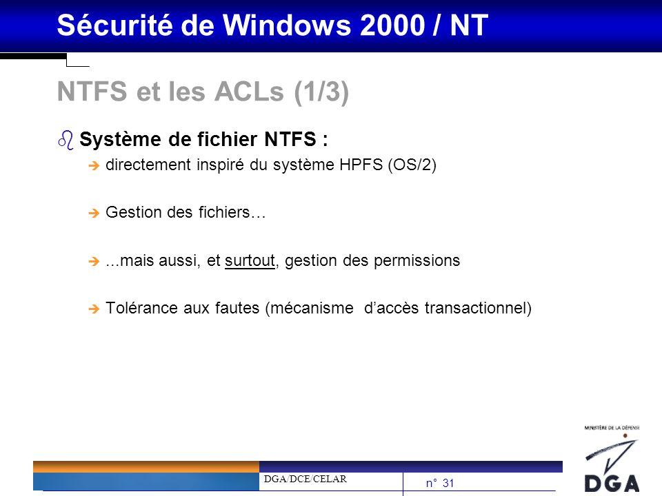 NTFS et les ACLs (1/3) Système de fichier NTFS :