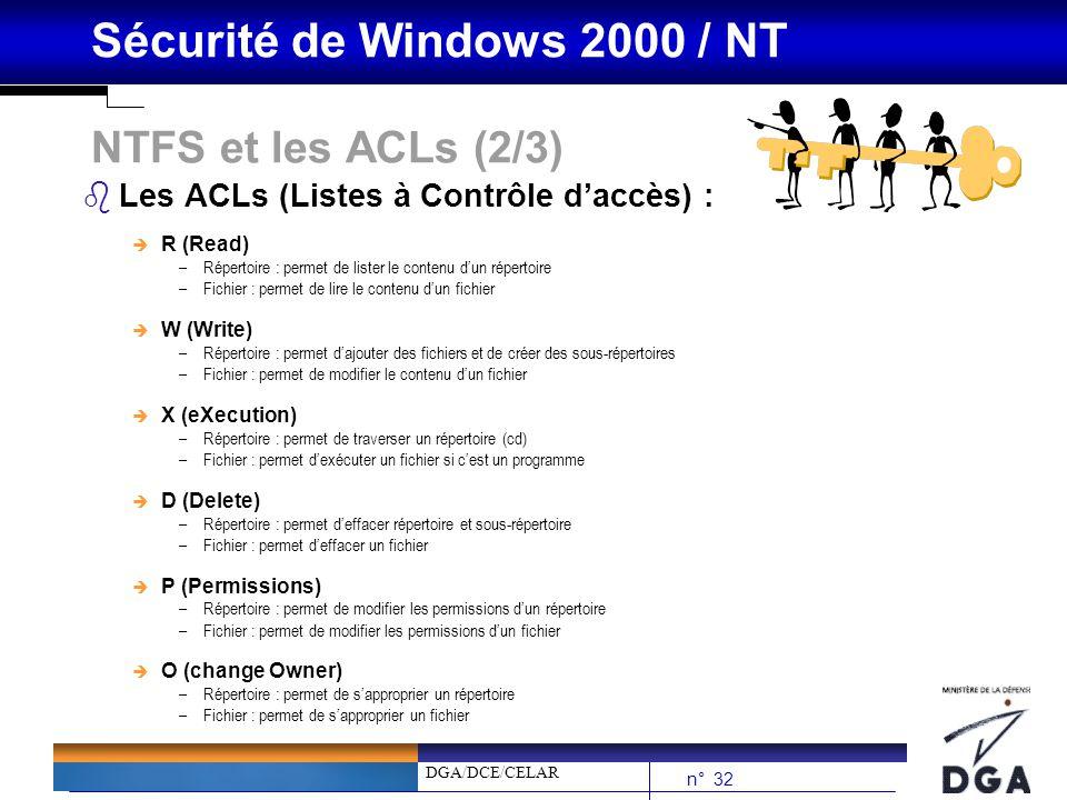 NTFS et les ACLs (2/3) Les ACLs (Listes à Contrôle d'accès) : R (Read)