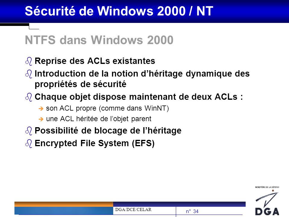 NTFS dans Windows 2000 Reprise des ACLs existantes