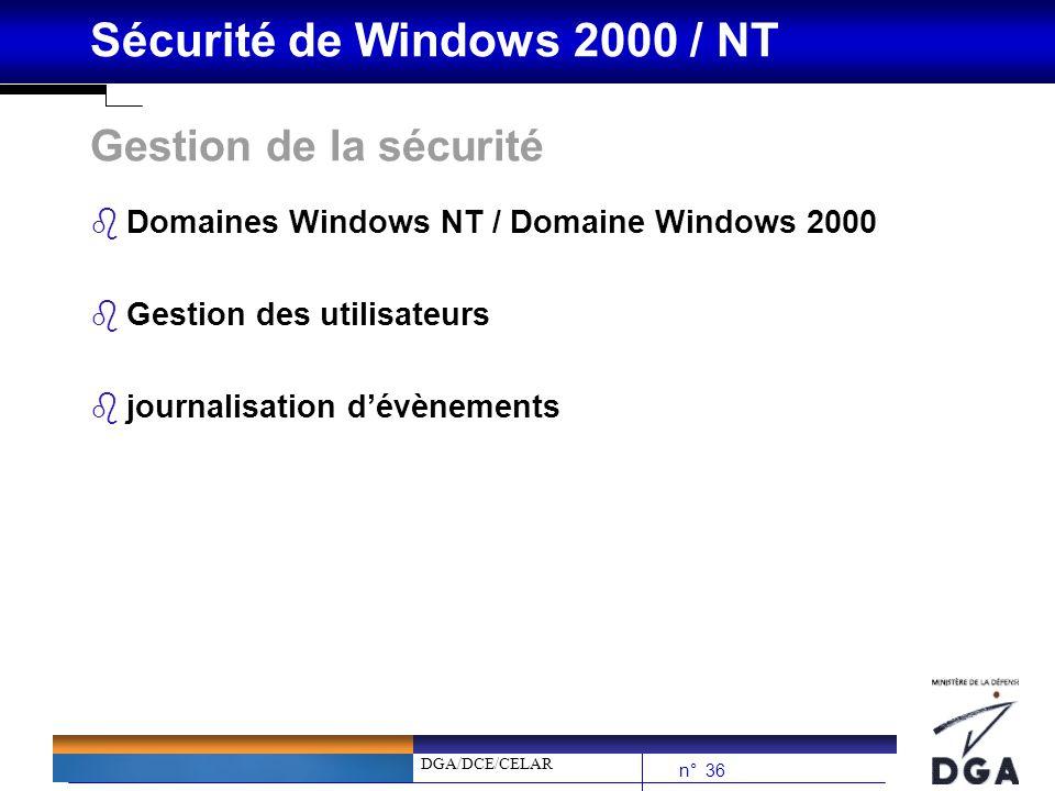 Gestion de la sécurité Domaines Windows NT / Domaine Windows 2000
