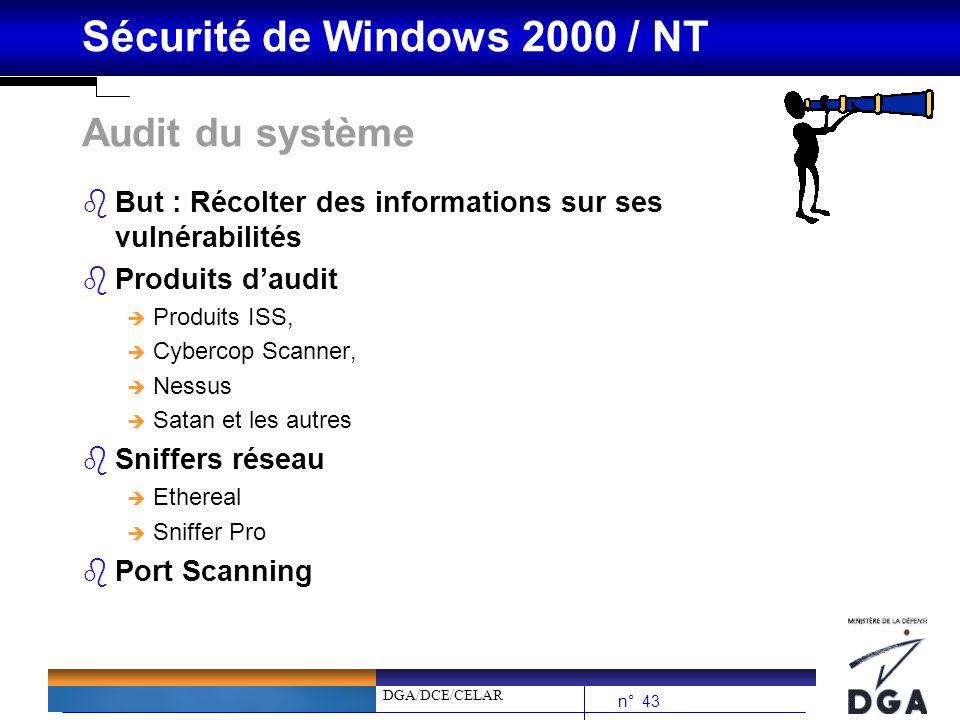 Audit du système But : Récolter des informations sur ses vulnérabilités. Produits d'audit. Produits ISS,