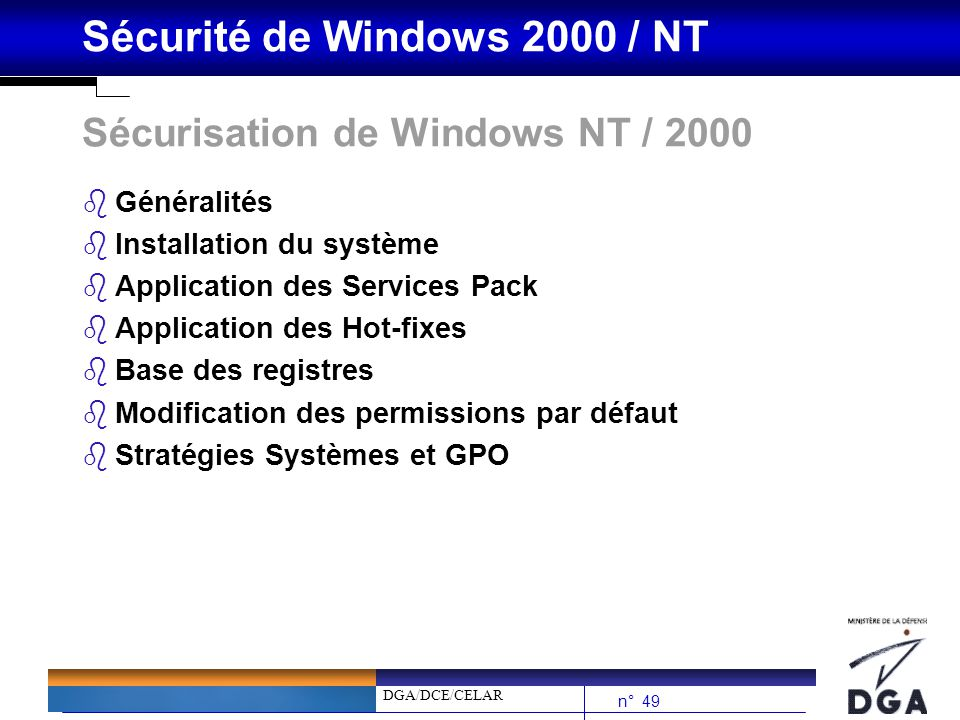 Sécurisation de Windows NT / 2000