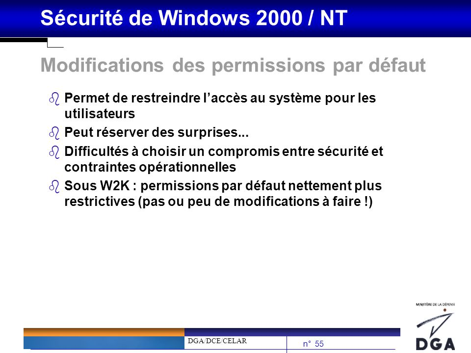 Modifications des permissions par défaut