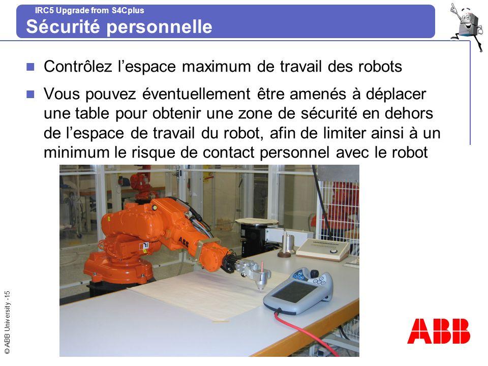 Sécurité personnelle Contrôlez l'espace maximum de travail des robots