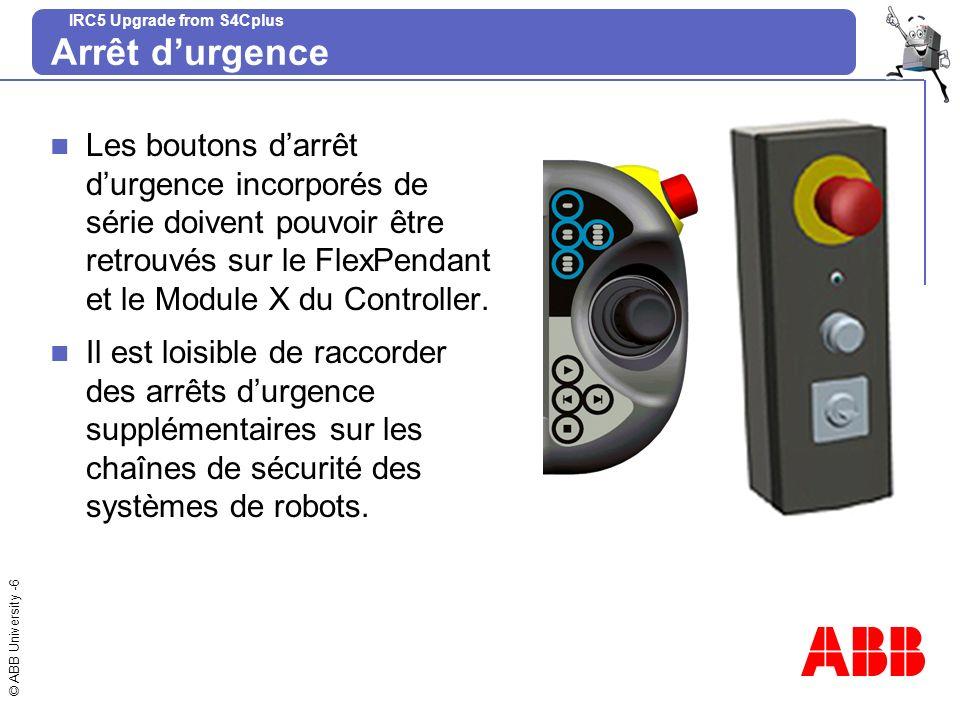 Arrêt d'urgenceLes boutons d'arrêt d'urgence incorporés de série doivent pouvoir être retrouvés sur le FlexPendant et le Module X du Controller.