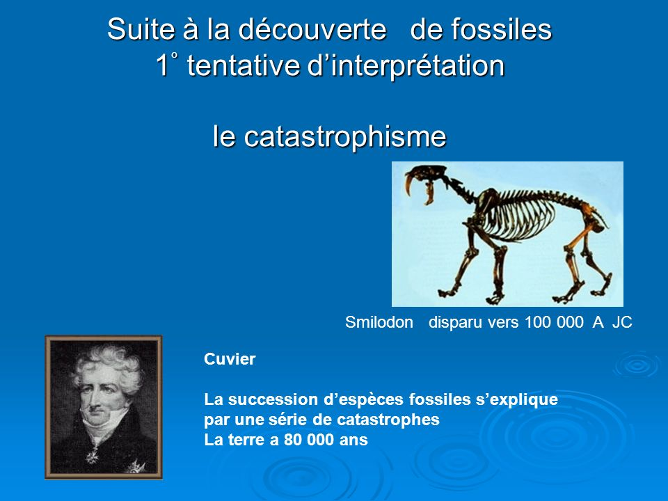Suite à la découverte de fossiles 1° tentative d'interprétation le catastrophisme