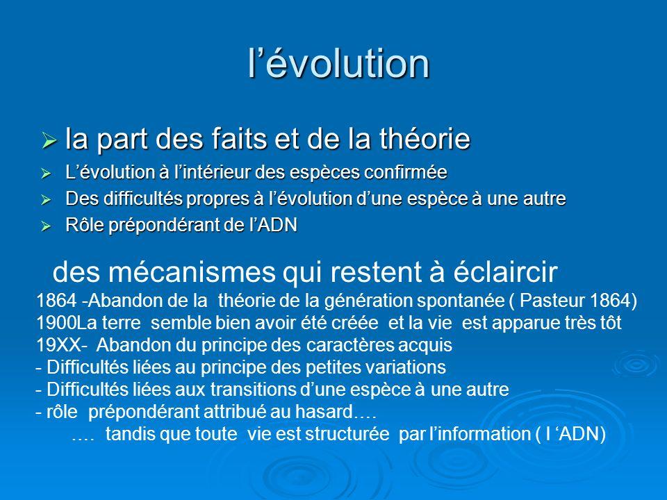 l'évolution la part des faits et de la théorie