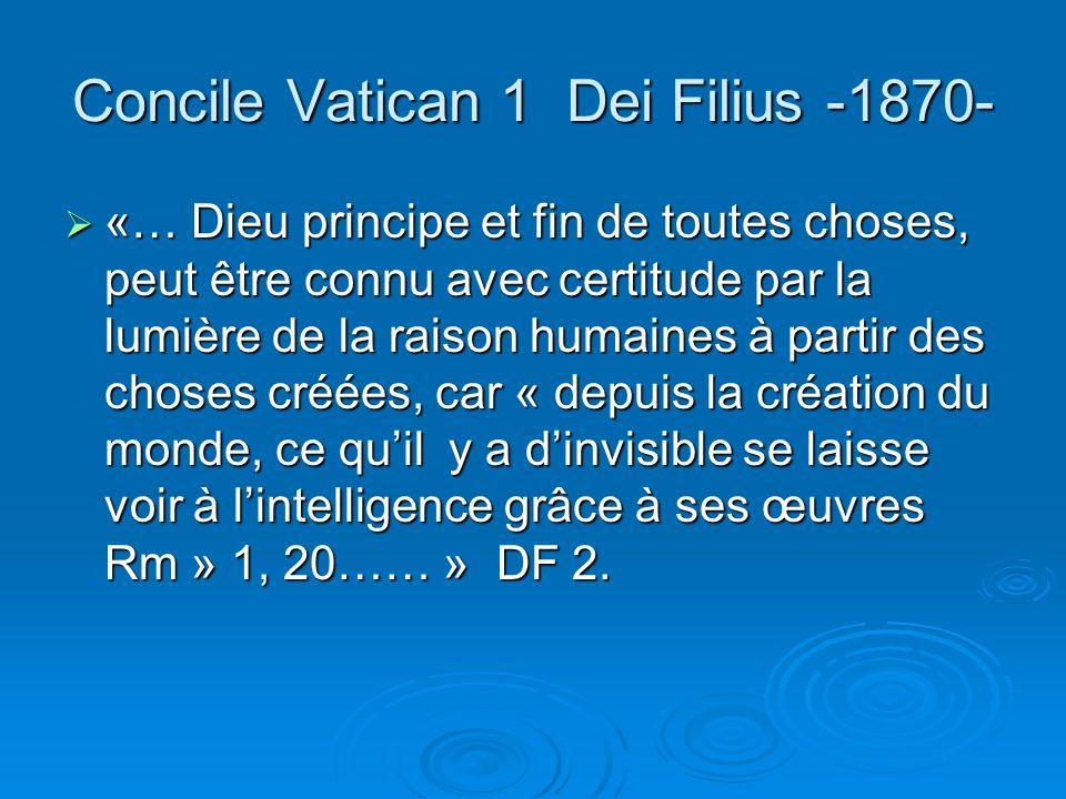 Concile Vatican 1 Dei Filius -1870-