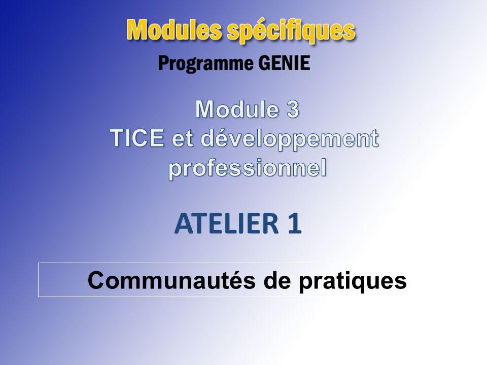 ATELIER 1 ATELIER 1 Module 3 TICE et développement professionnel