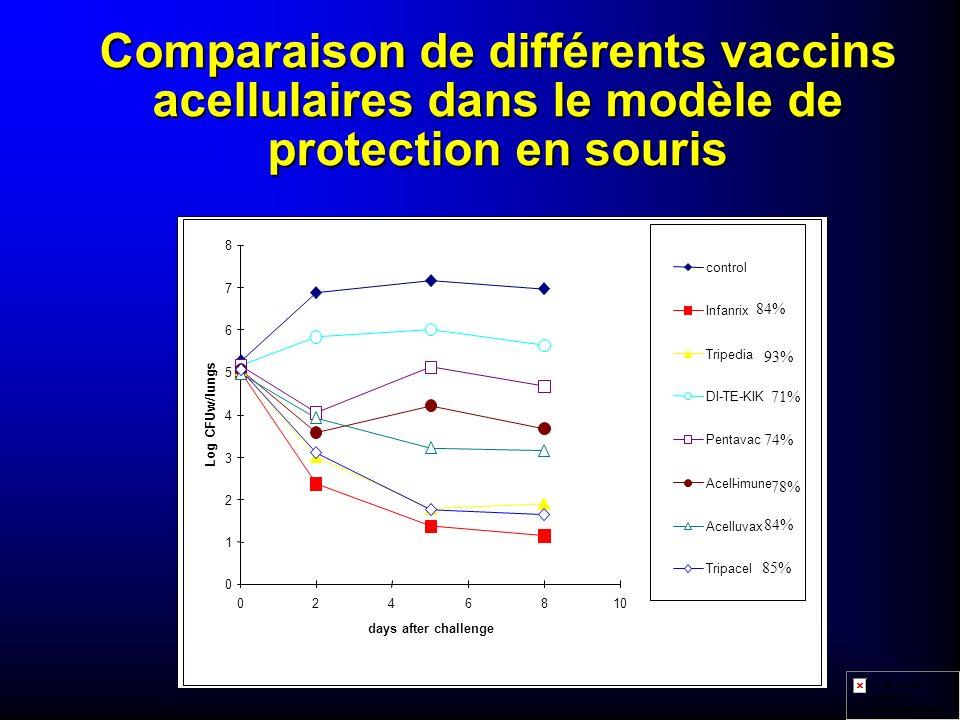 Comparaison de différents vaccins acellulaires dans le modèle de protection en souris