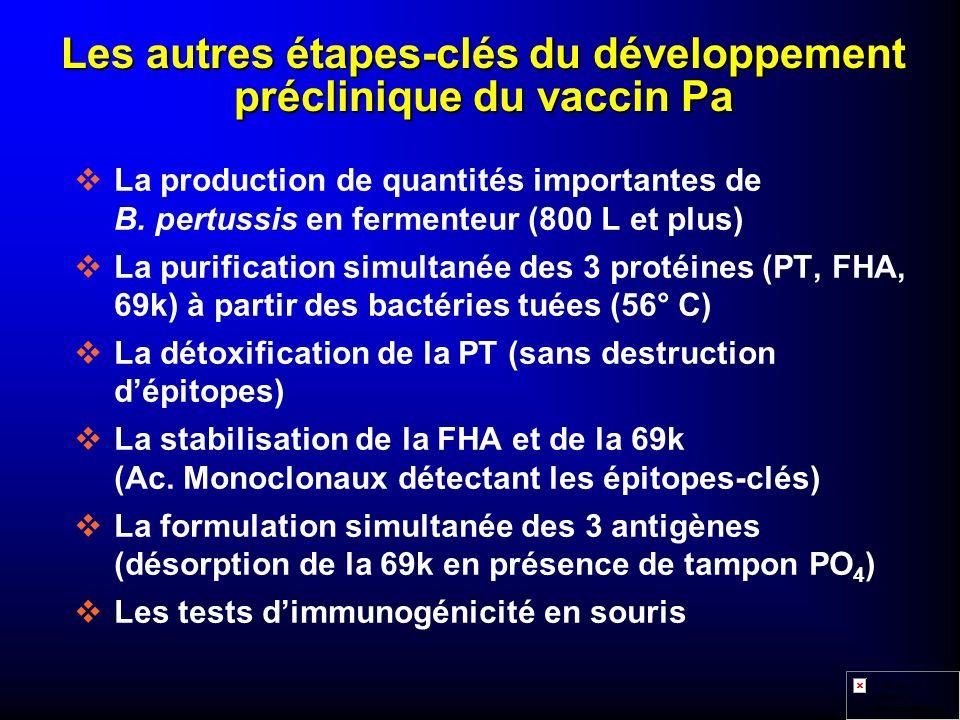 Les autres étapes-clés du développement préclinique du vaccin Pa