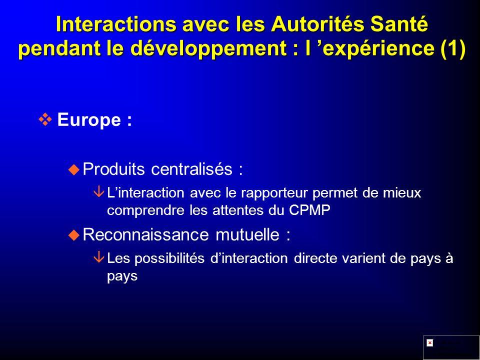 Interactions avec les Autorités Santé pendant le développement : l 'expérience (1)