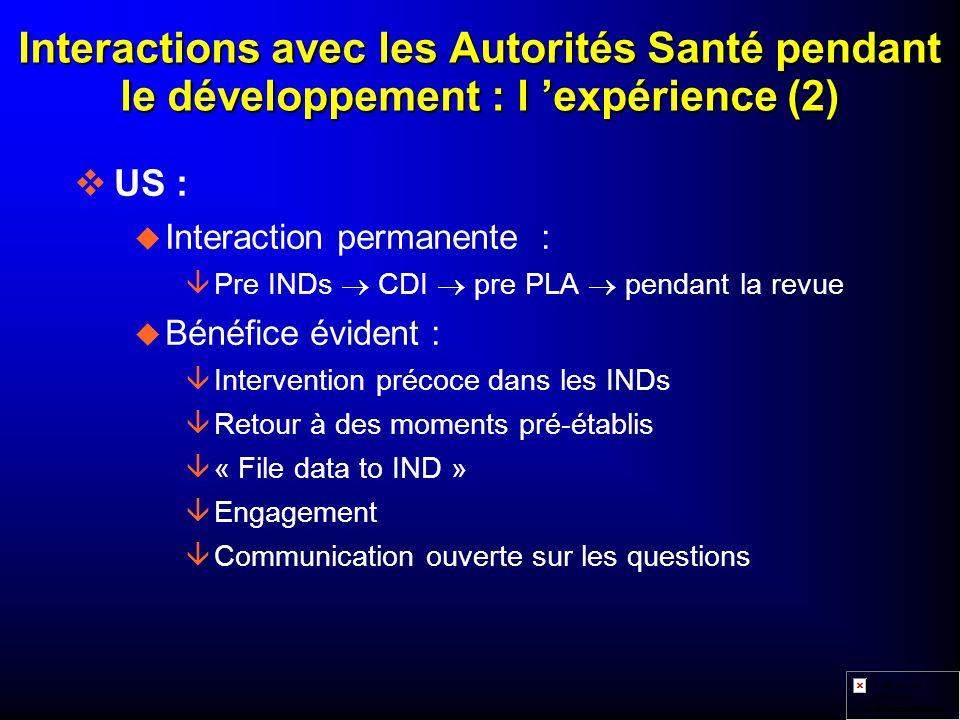 Interactions avec les Autorités Santé pendant le développement : l 'expérience (2)