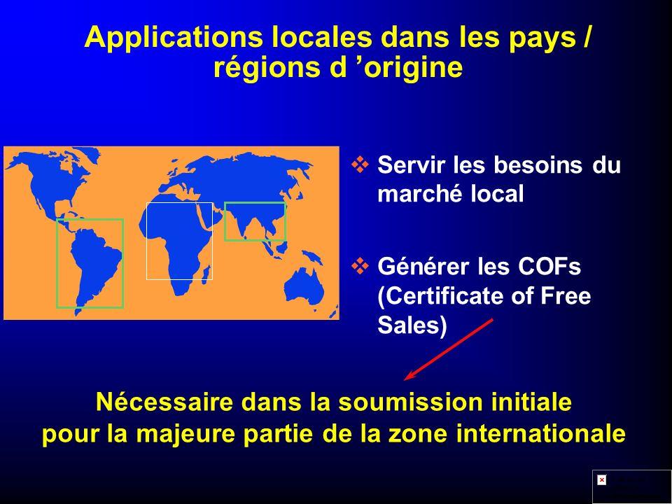 Applications locales dans les pays / régions d 'origine
