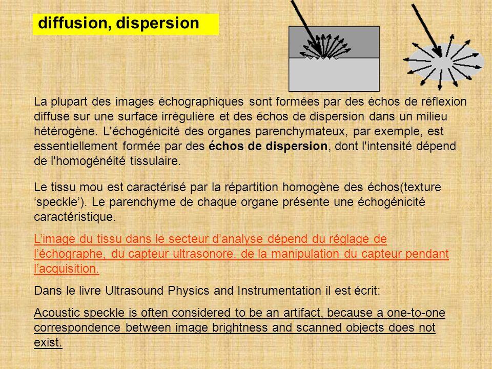 diffusion, dispersion La plupart des images échographiques sont formées par des échos de réflexion.
