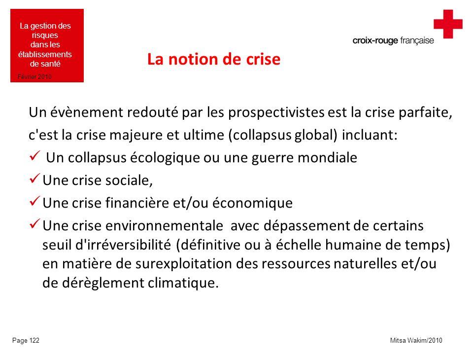 La notion de crise Un évènement redouté par les prospectivistes est la crise parfaite, c est la crise majeure et ultime (collapsus global) incluant: