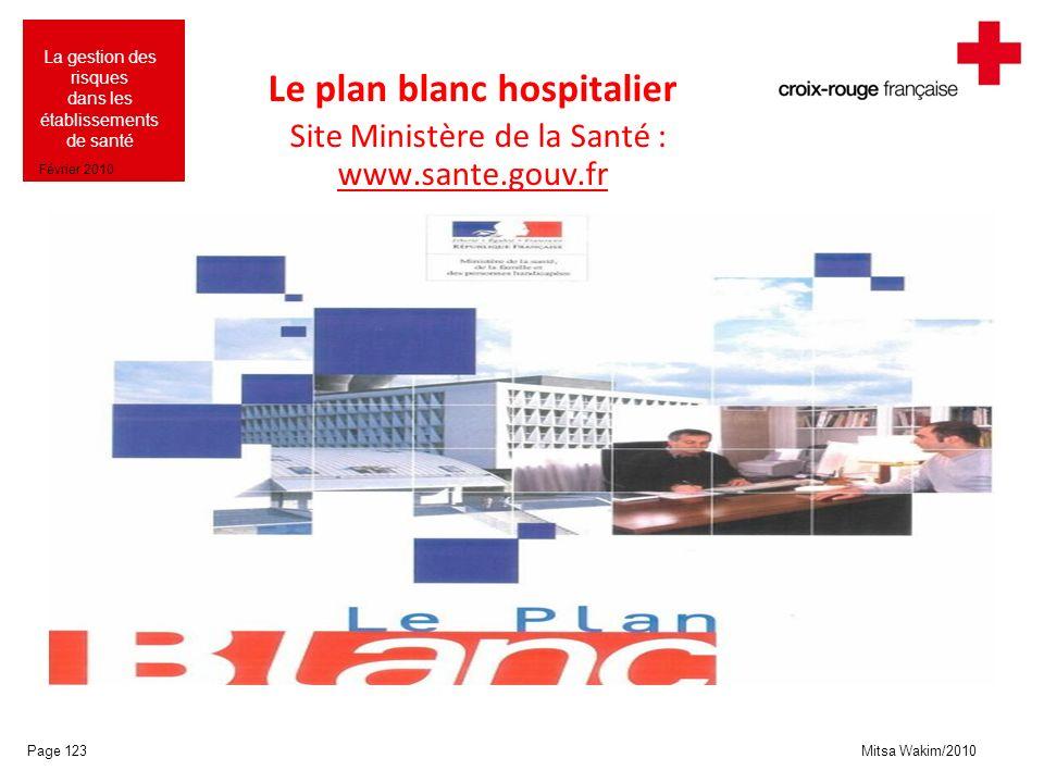 Le plan blanc hospitalier Site Ministère de la Santé : www.sante.gouv.fr