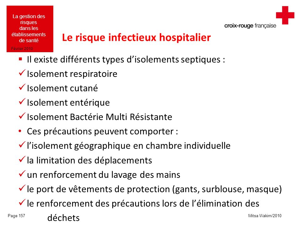 Le risque infectieux hospitalier