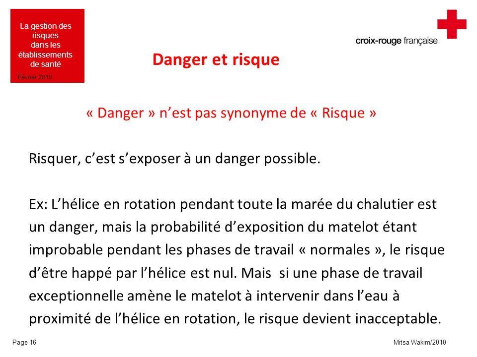 Danger et risque « Danger » n'est pas synonyme de « Risque »