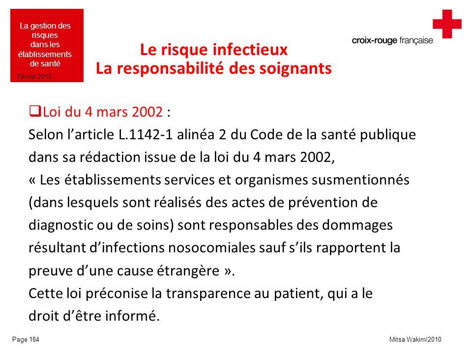 Le risque infectieux La responsabilité des soignants