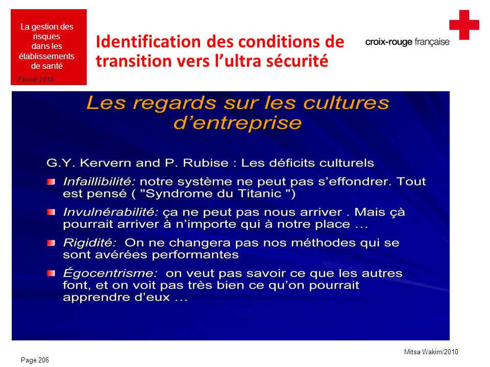Identification des conditions de transition vers l'ultra sécurité