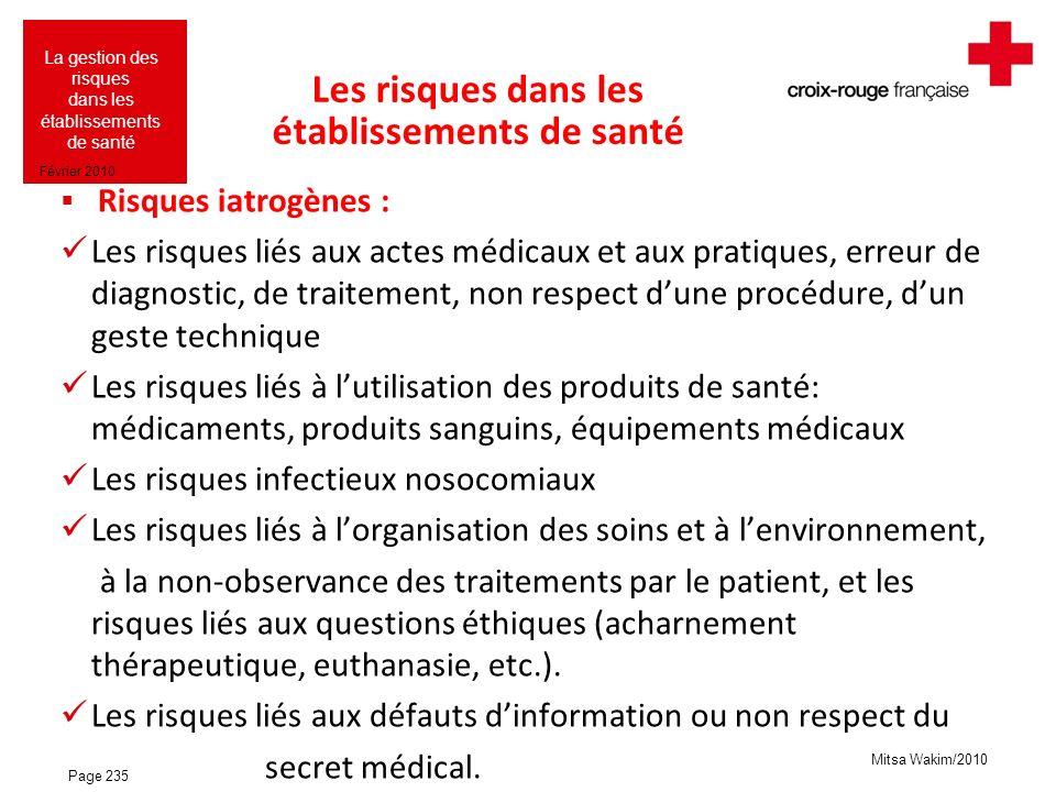 Les risques dans les établissements de santé