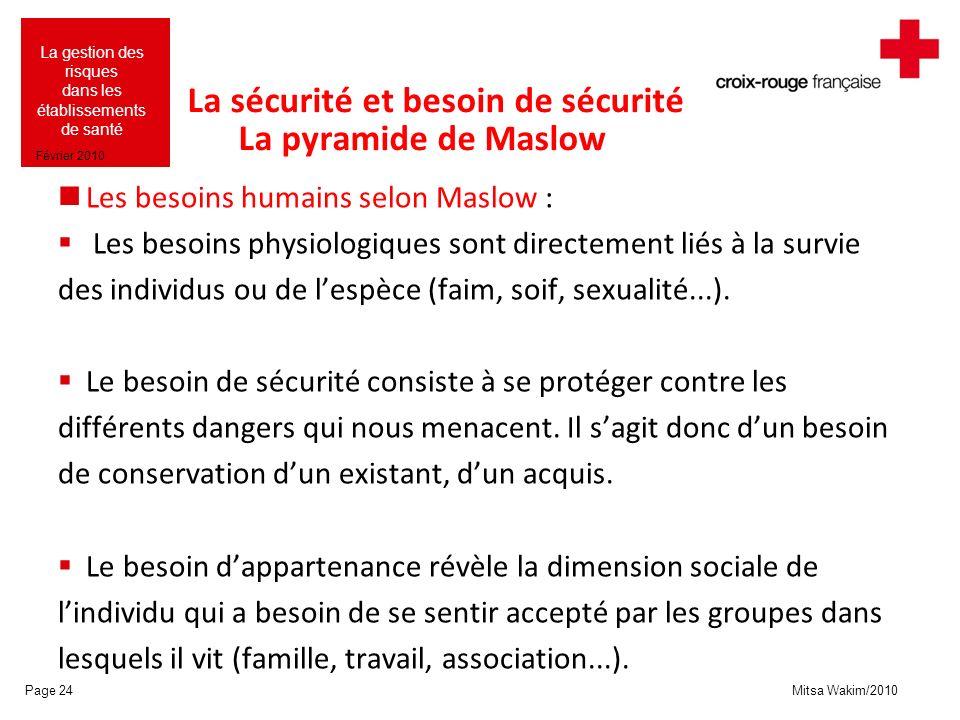 La sécurité et besoin de sécurité La pyramide de Maslow