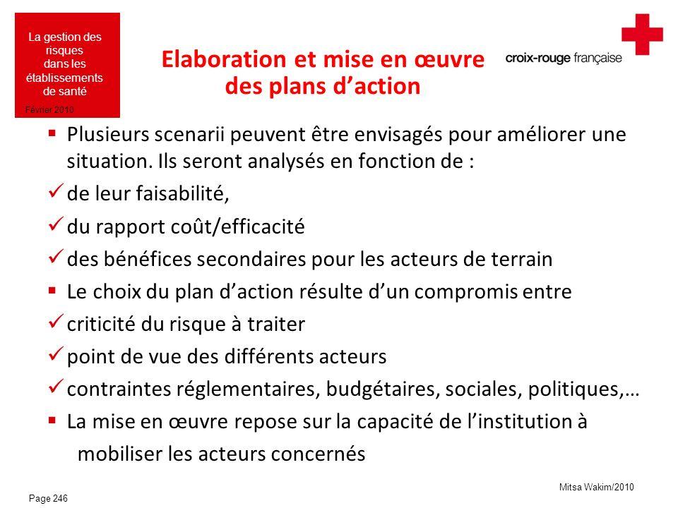 Elaboration et mise en œuvre des plans d'action