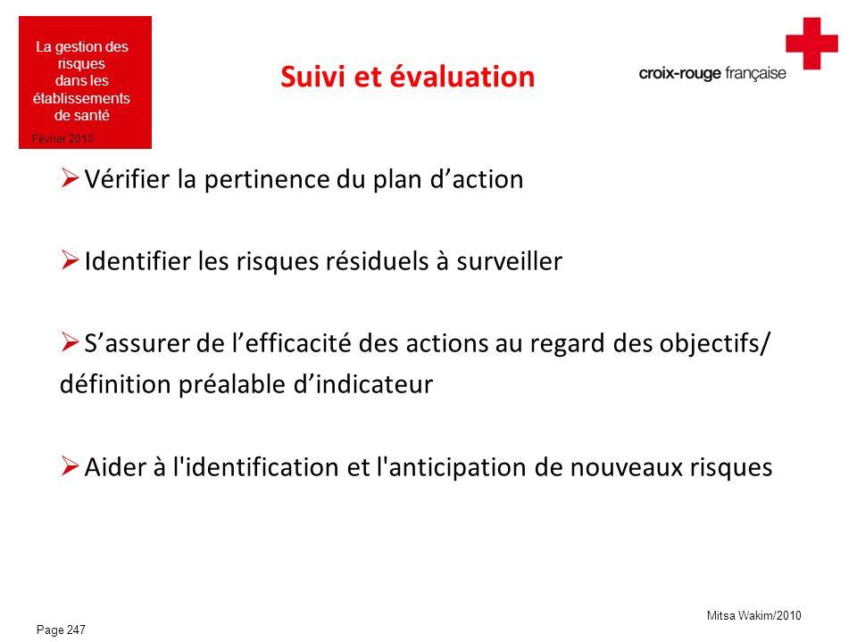 Suivi et évaluation Vérifier la pertinence du plan d'action
