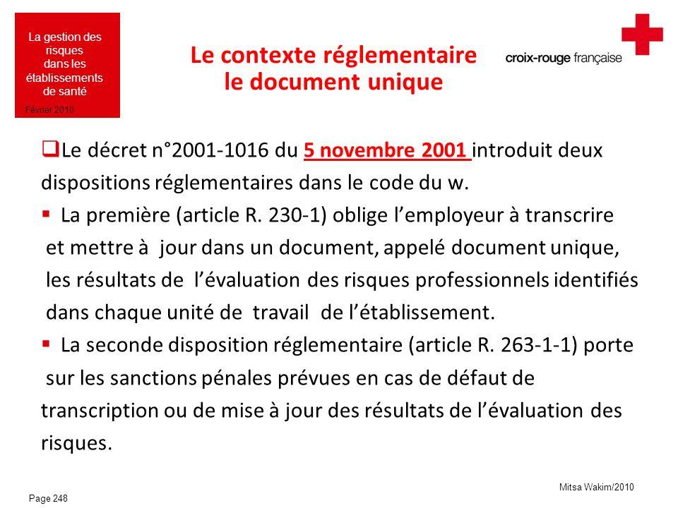 Le contexte réglementaire le document unique