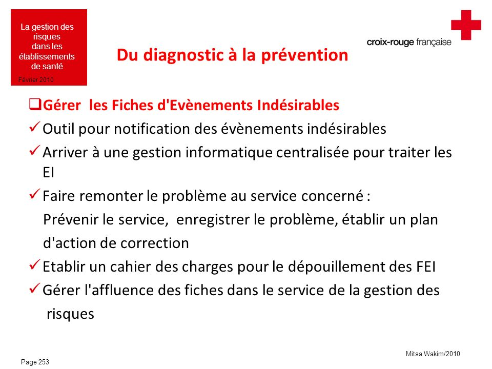 Du diagnostic à la prévention