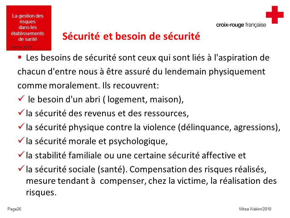 Sécurité et besoin de sécurité
