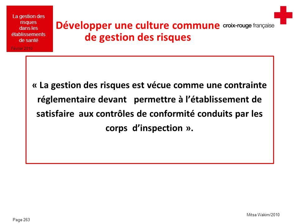Développer une culture commune de gestion des risques
