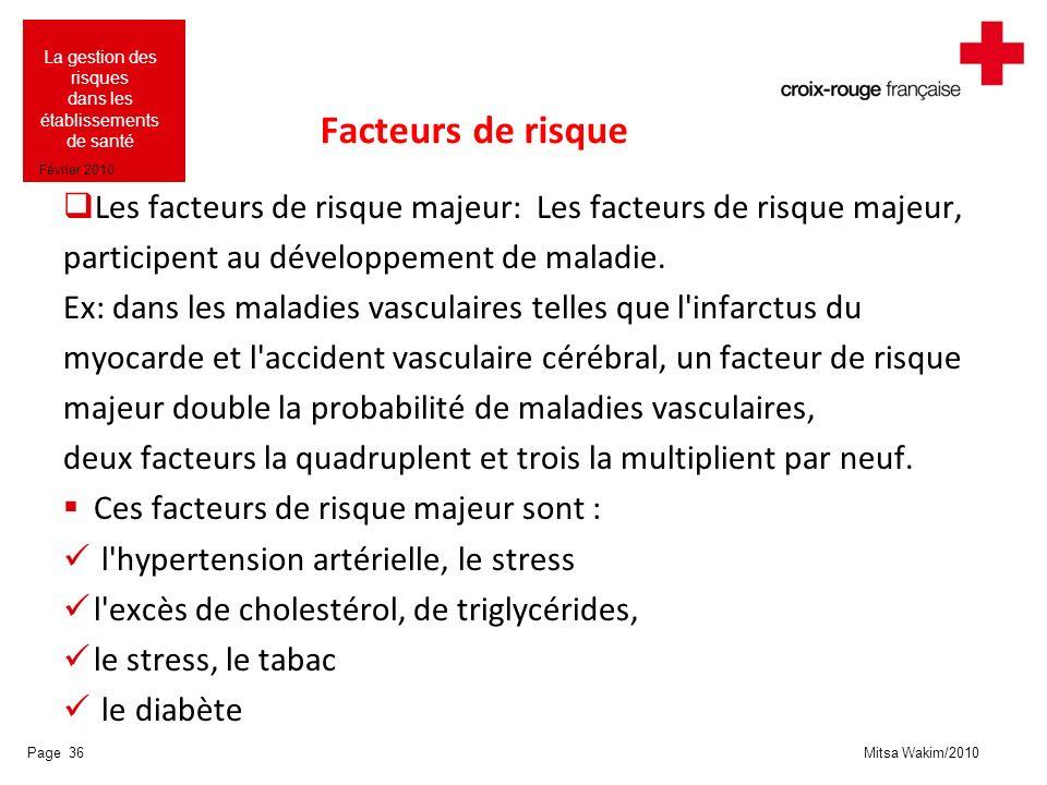Facteurs de risque Les facteurs de risque majeur: Les facteurs de risque majeur, participent au développement de maladie.