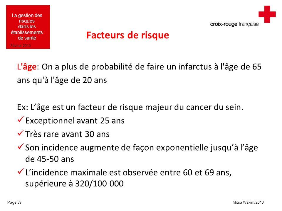Facteurs de risque L âge: On a plus de probabilité de faire un infarctus à l âge de 65. ans qu à l âge de 20 ans.