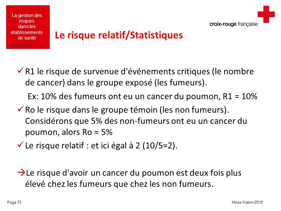 Le risque relatif/Statistiques