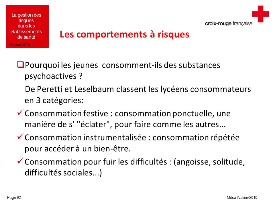 Les comportements à risques