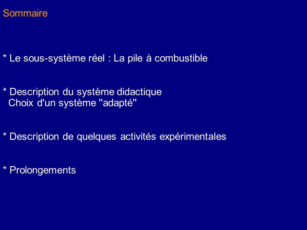 Sommaire * Le sous-système réel : La pile à combustible. * Description du système didactique. Choix d un système adapté