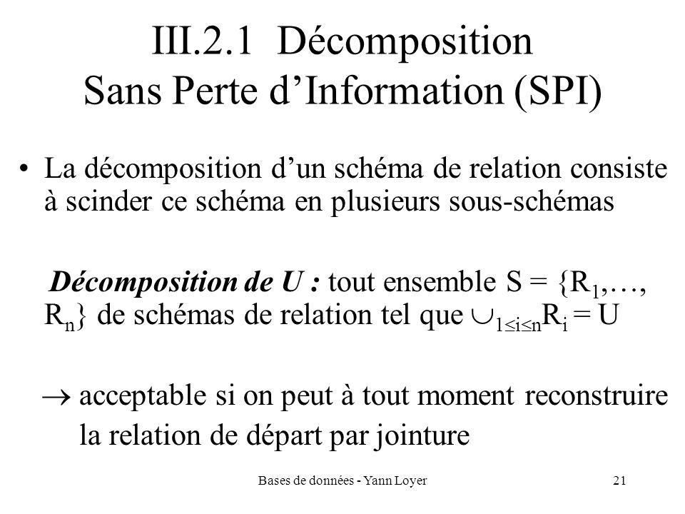 III.2.1 Décomposition Sans Perte d'Information (SPI)