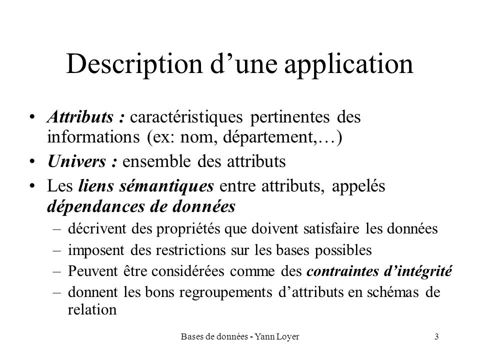 Description d'une application