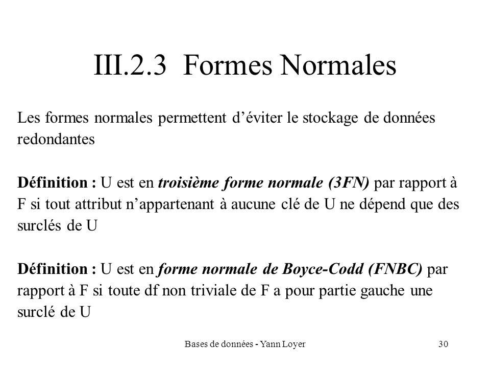 Bases de données - Yann Loyer