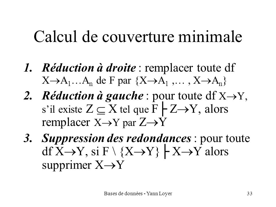 Calcul de couverture minimale