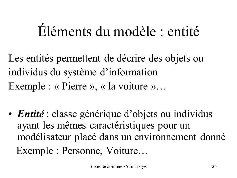 Éléments du modèle : entité