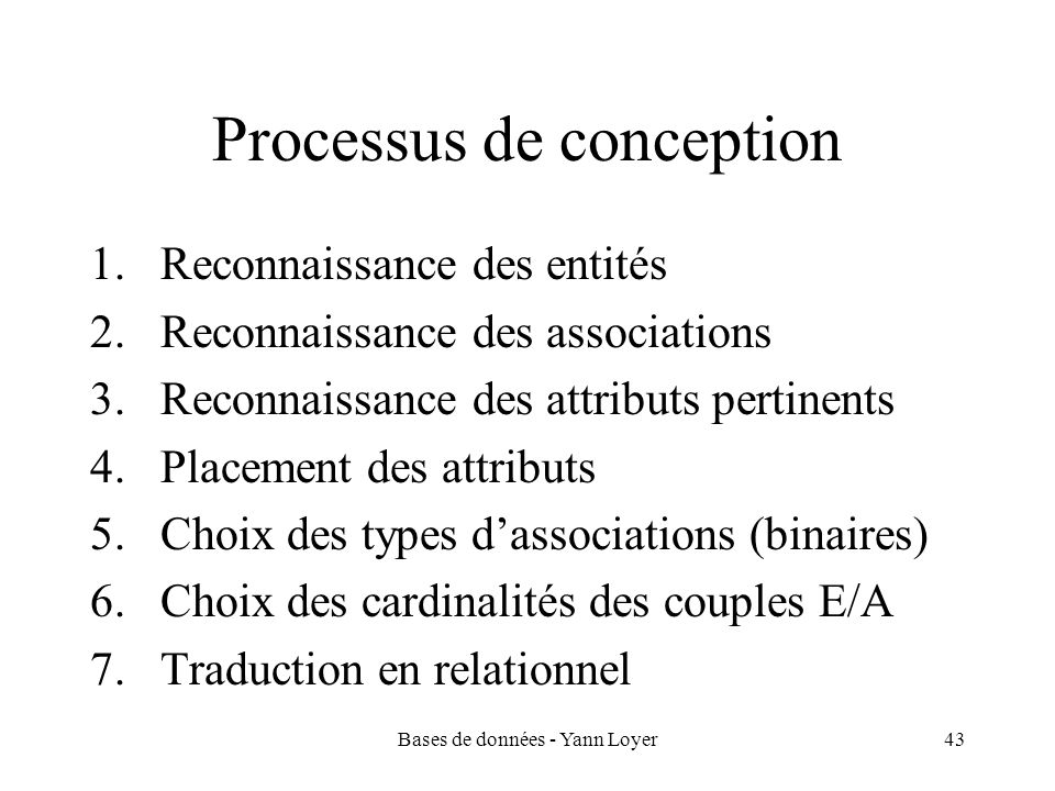 Processus de conception
