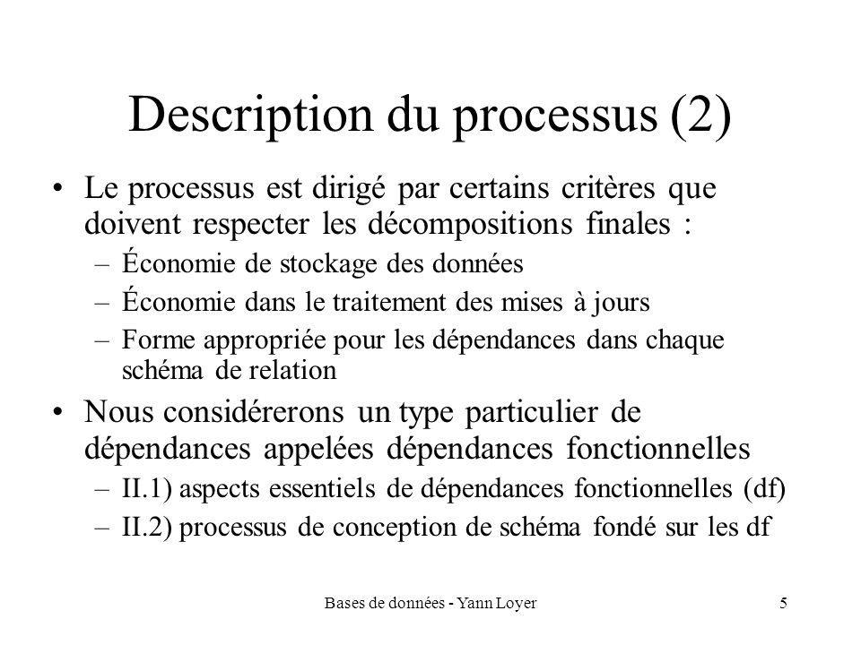 Description du processus (2)